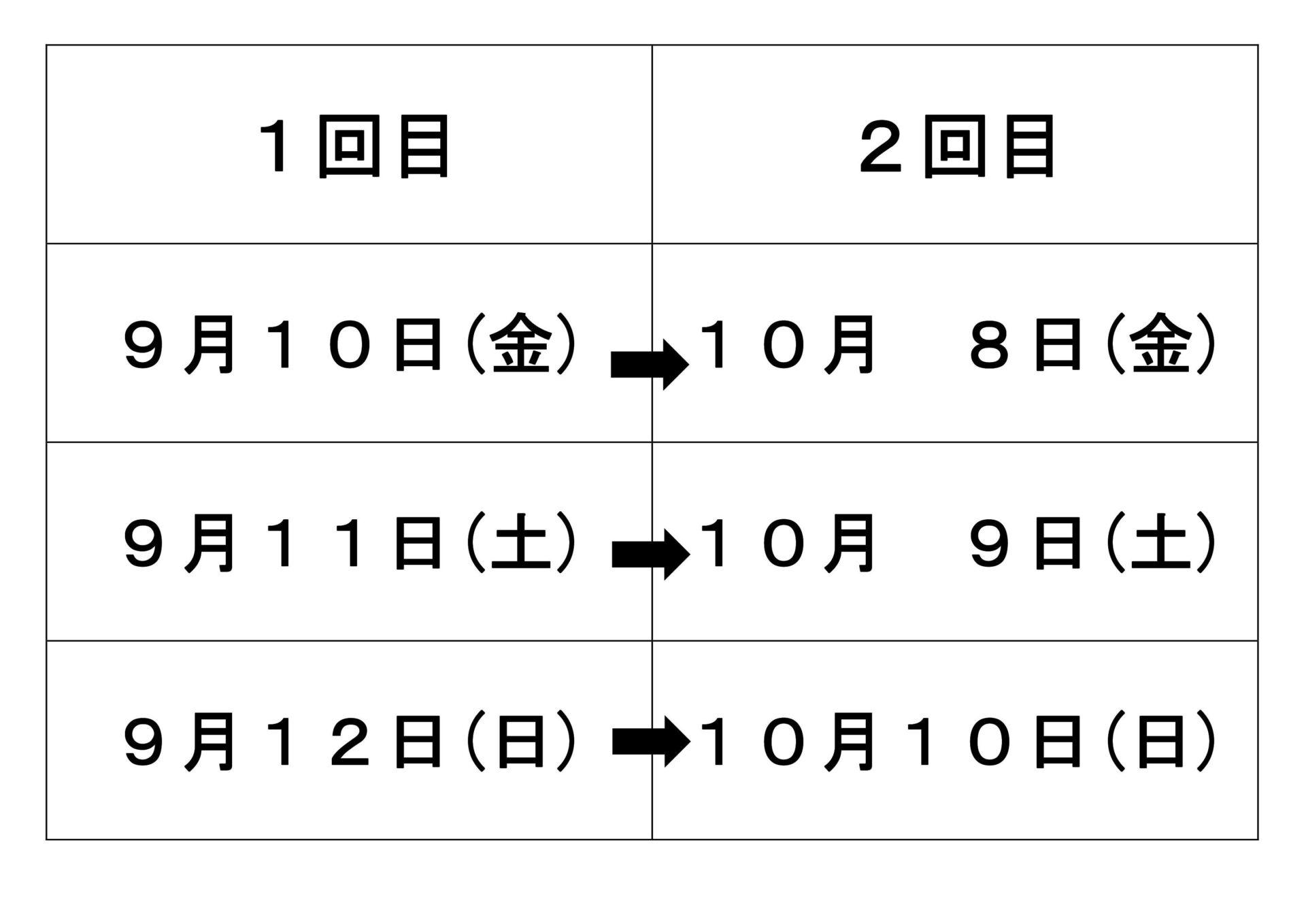 接種日程表